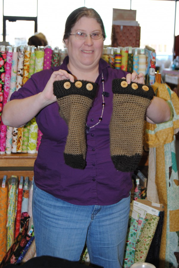 Lesa brought along the crocheted socks she made for her son and