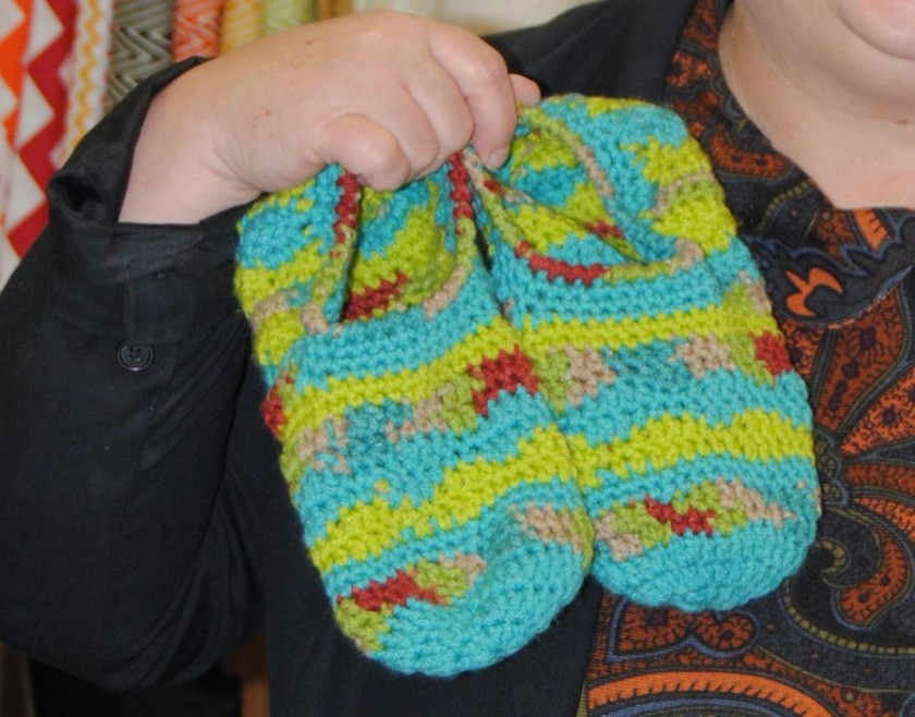 Tamara made the slippers from the February 2016 Crochet World.