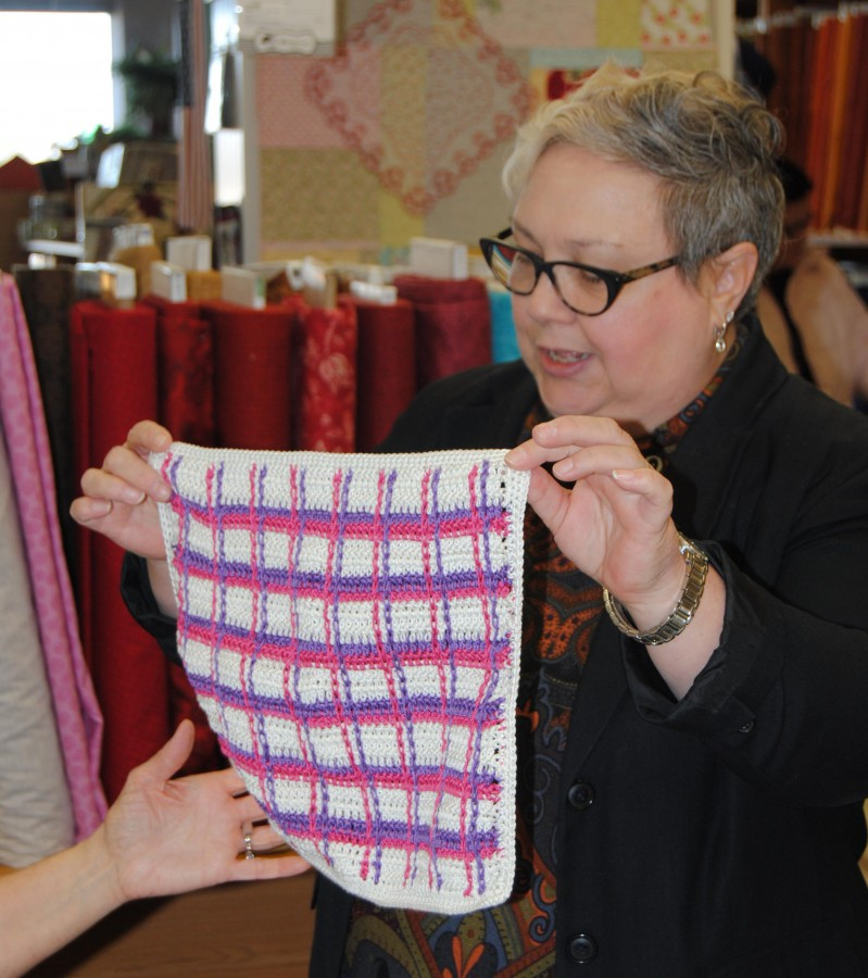 Tamara also tried her hand at the tartan plaid stitch and made a large washcloth.