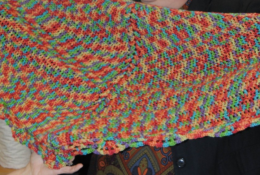 Tamara completed this shawl that was a free pattern from the Cascade website.