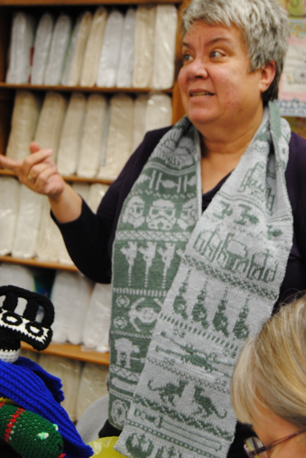Here's Susan modeling her double knitted scarf. What a talented lady she is.