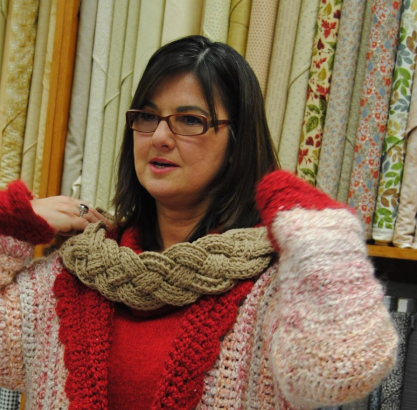 I just loved the way the braided scarf laid around her neck.