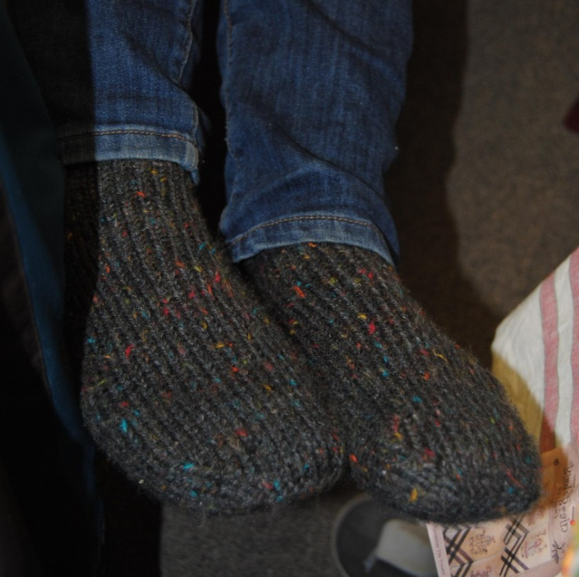 Kim wore her lovely knitted socks.