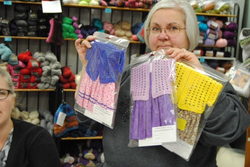 Catherine has been working hard on her American Girl Doll clothes of dresses and sweater sets.