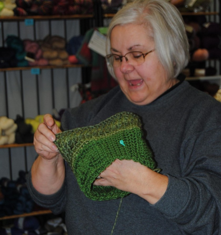 Catherine also started the cabled hat that was a class at her shop the Saturday before the meeting.