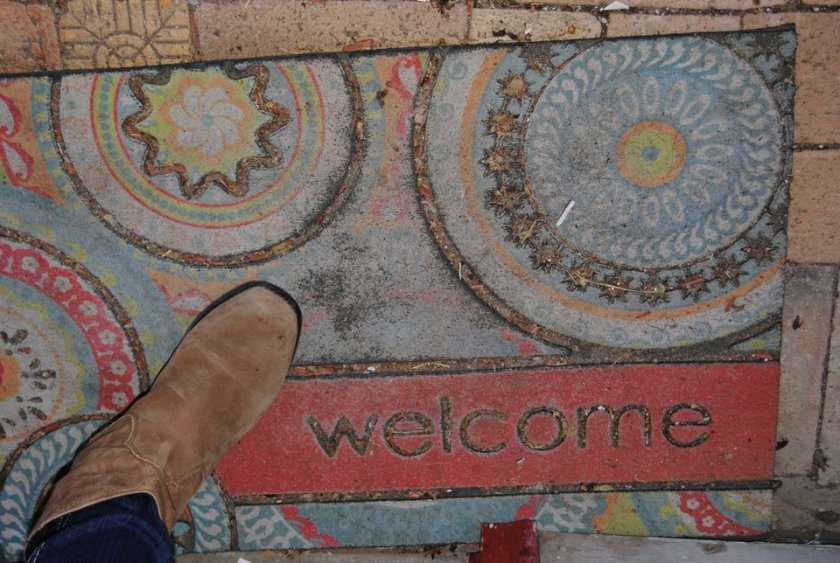 I especially loved the welcome mat that reminded us all of the crocheted mandalas that some of us have made.